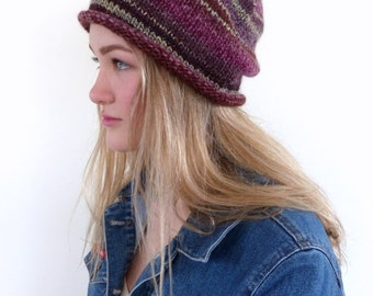 Burgundy Slouchy Hat Slouch beanie  Hand knit hat Burgundy hand knitted slouch beanie