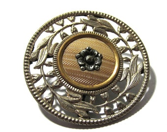 Victorian Celluloid Silver Metal BUTTON One (1) Cut Steel Look Celluloid Open Work Floral Filigree Button Jewelry Sewing Supplies (D121)