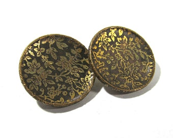 Victorian Wallpaper Buttons Two (2) ANTIQUE Victorian Buttons Brass Two Piece Gold Tone Buttons Vintage Jewelry Sewing Supplies (A37)