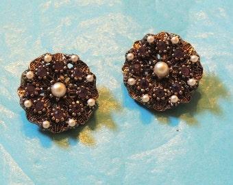 Vintage Faux Amethyst Pearl Clip On Earrings Purple Rhinestone Jewelry