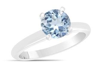 Aquamarine Solitaire Engagement Ring 1.70 Carat 14K White Gold Certified handmade