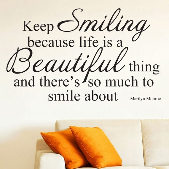 Keep Smiling Wall Decal Marilyn Monroe Quote Wall Decal