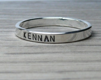Custom name ring band ring sterling silver personalized ring name rings stackable name ring mothers ring baby name ring date ring