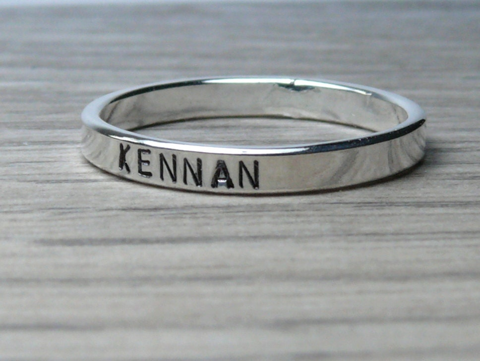 custom name ring band ring sterling silver personalized ring