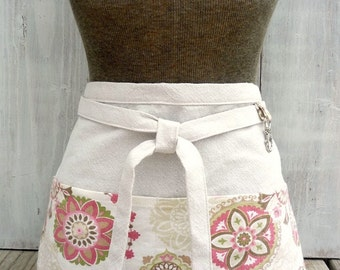Modern Floral Apron - Pink Green Brown Women's Half Apron - Gardener - Waitress Apron
