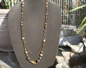 Bronze Long Boho Style Necklace Pearl by My Cozy Cottage Designs OOAK
