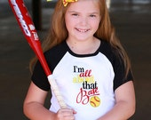 Softball Shirt, I'm All About That Base Embroidered Shirt, Black and White Sporty Top, Softball Monogrammed Bow, Child Belt, Yellow, Black