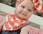 Organic Knit Baby Girl Bib, Coral Elephant, Baby Girl Bandana Bib, Bibdana, Scarf Bib, Knit Messy Bow Headband