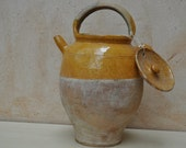 Water or Wine Carrier Earthenware Pot from South West France with Yellow Glaze - Large Size