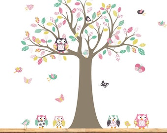 Vinyl Wall Decal   Nursery wall decal tree chevron print owl tree decal