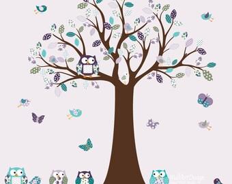 Nursery Wall Decal Vinyl Wall Decal pink chevron pattern Owl Tree Set Nursery  Baby