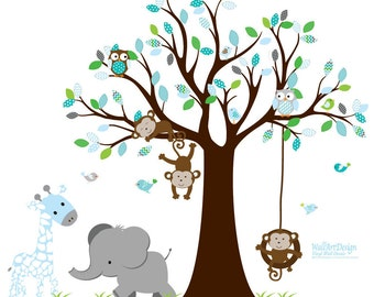 Nursery Wall Tree Decal, Boys Nursery Art, Vinyl Decals, Monkey Art, Elephant Wall Art