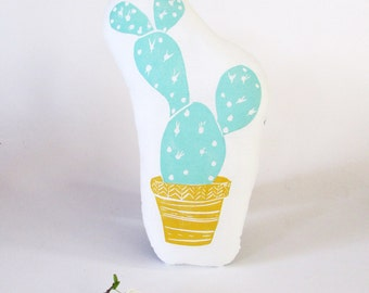 Prickly Pear Cactus Pillow. Cactus Shaped Pillow. Hand Woodblock Printed. Choose ANY Color. Made to Order.
