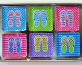 Flip Flops Refrigerator Magnets, Set of 6 Beach Pool Ocean Summer Theme Fridge Magnets in Storage Tin