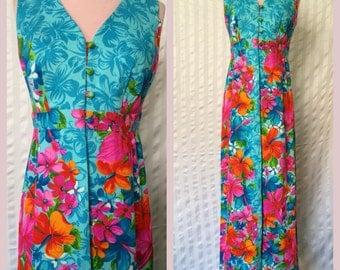 1960s Tropical Hawaiian Dress - Small - Medium
