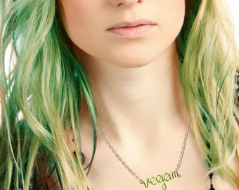 Green Vegan Necklace OR Bracelet - Custom Personalized Vegan Jewelry - Gift for a Vegetarian - Vegan Pride Animal Rights Herbivore Handmade