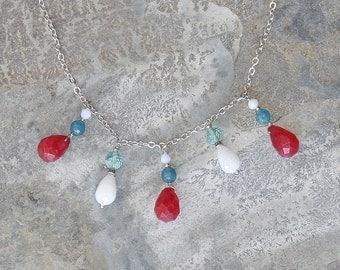 Multi Color Necklace, Statement Necklace, Raspberry Pink Necklace, Quartz Necklace,  Aqua Blue Necklace, White Jade Necklace, Stone Necklace