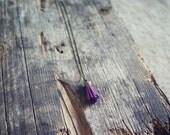 Pink Lemonade Plum Purple Antique Brass Tassel Charm Necklace