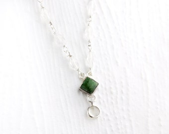 Wyoming Jade and Rock Crystal Sterling Silver Necklace