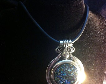 Enchanting Tribal Goddess Silver Blue Druzy Medallion Necklace