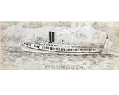 Antique Ink Drawing - Steamboat Monmouth NJ NY - Nautical Maritime History Steamer Ship New York