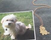 Dog Pendant Necklace .. Custom Pet Portrait Brass / 14kt gold filled Maltese silhouette Memorial Jewelry Birthday Day Keepsake