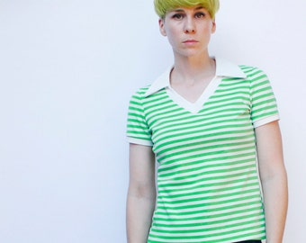 Vintage  70's polyester pullover, Green & White stripes,  V-Neck, Striped, Collared t-shirt - Small