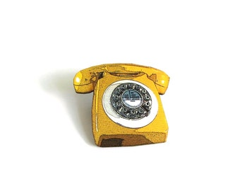 yellow rotary phone brooch pin . vintage telephone tie tack
