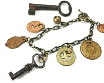 Steampunk Charm Bracelet - French Skeleton Key, Vintage Trolley Tokens, Lions Club Medal, Victorian Brass Button - SMALLER