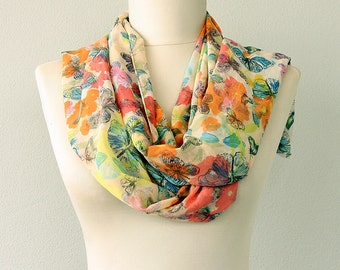 Butterfly scarf Chiffon summer scarf Fashion scarves women gift idea Spring accessories Lightweight infinity scarf colorful classic scarf