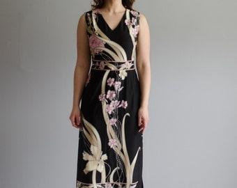 Vintage 1970s Maxi Dress - Long 70s Dress - Japanese Garden Dress