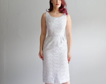 Vintage 1950s Eyelet Dress - 50s Summer Dress - Bright Sky Dress