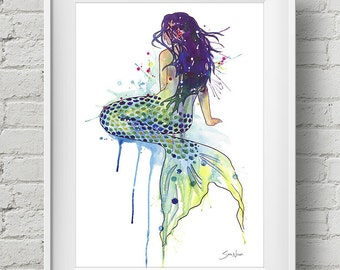 Mermaid : print mermaid tail watercolor painting