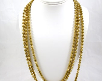 Vintage Gold Bead Necklace Triple Strand Gold Beads Signed Georgiou Gold Tone 31 inches Classic Long Gold Necklace