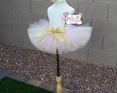 VINTAGE PRINCESS- Soft Pink, Gold, and Ivory, tutu with hairbow:  Newborn-5T