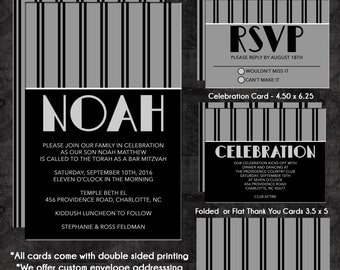 Bar Mitzvah Invitation Classic Black and Grey Stripes