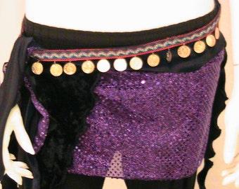 Belly dance hipscarf, hipskirt , hip belt in black velvet  and purple with gold coin trim SM - MED