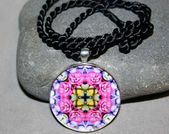 Mandala Pendant Necklace Pink Rose Boho Sacred Geometry Kaleidoscope Unique Gift For Her Mod New Age Hippie Bohemian A Fanciful Fondness