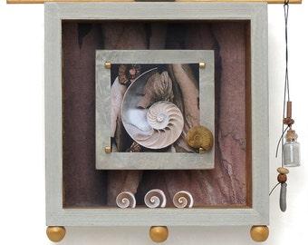 Original art work,nature themed shadow box, 6x6, meditative , wall art,handmade