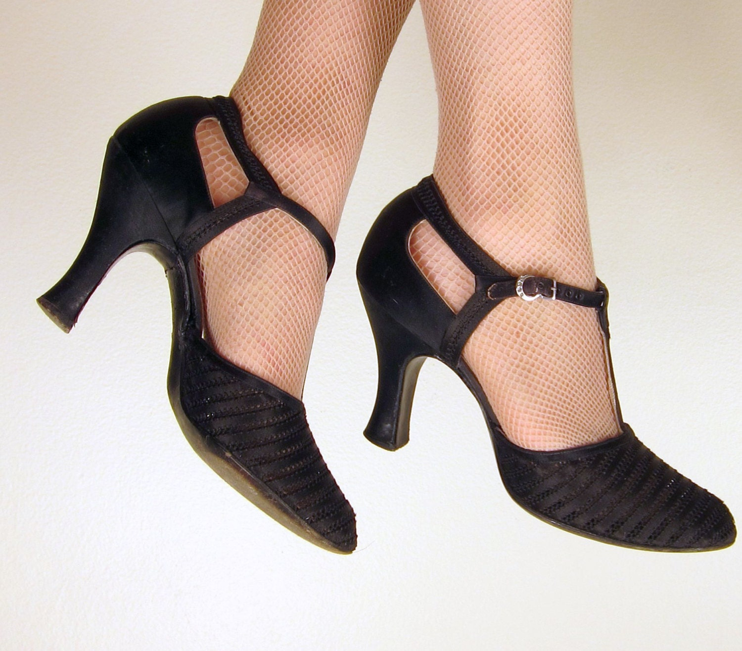 Vintage 1920s Black T Strap Shoes 20s Mary Jane Heels In