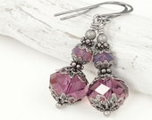 Romantic Purple Jewelry - Antique Silver Earrings with Amethyst Purple Swarovski Crystal - Rustic Vintage Style Sentimental Dangle Earrings