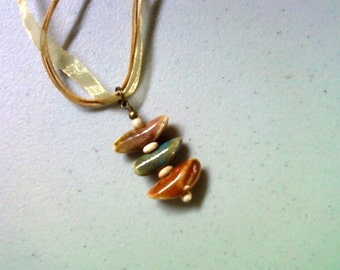 Beige, Blue and Pumpkin Ethnic Necklace (1403)