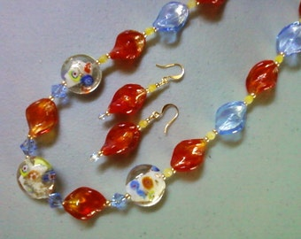 Siam Red and Light Blue Twist Millefiori Necklace and Earrings (0295)