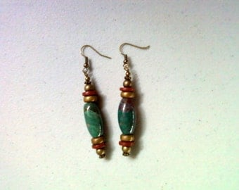 Green, Rust and Brass Stone Earrings (1426)