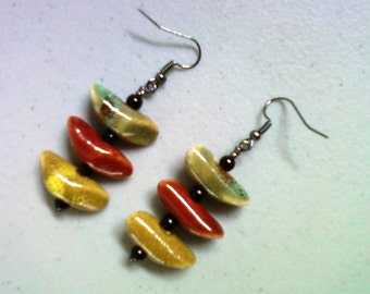 Blue, Red, Yellow and Black Earrings (1265)
