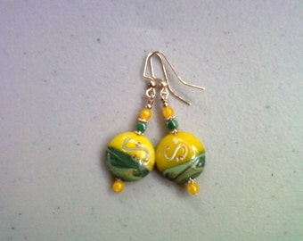Yellow and Green Lampwork Earrings (0122)
