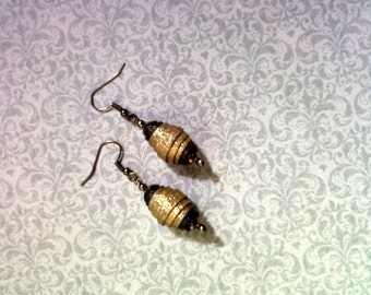 Gold and Black Fabric Earrings (1677)