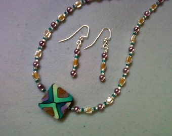 Teal, Purple, Gold and Brown Necklace and Earrings (0549)