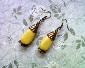 Lemon Yellow Ceramic Earrings (1721)