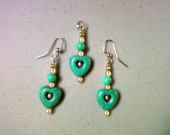 Turquoise Heart Pendant and Earrings (0406)